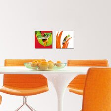 Deco Glass Crazy Frogs 2 Piece Photographic Print  Set