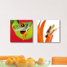 Deco Glass Crazy Frogs Wall Decor (Set of 2)