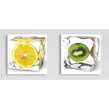 Deco Glass Iced Fruits 2 Piece Photographic Print Set