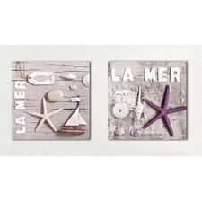 Deco Glass La Mer Wall Decor (Set of 2)
