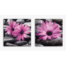 Deco Glass Fancy Flowers 2 Piece Photographic Print on Canvas Set