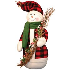 Snowman Buff Plaid Coat Figurine