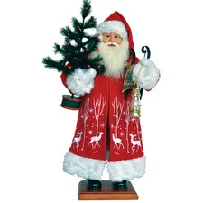 Reindeer Frolic Santa with Goose Feather Figurine