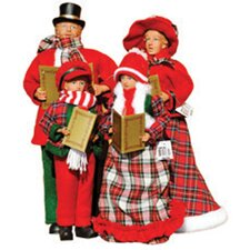 4 Piece Plaid Caroler Figurine Set