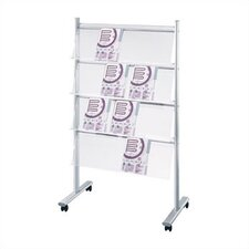 Double Sided Mobile Rack with 4 Display Shelves