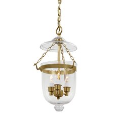 3 Light Small Bell Jar Foyer Pendant