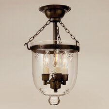 3 Light Small Bell Jar Semi Flush Mount with Star Glass