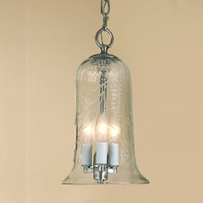 3 Light Large Elongated Bell Jar Pendant with Flower Glass