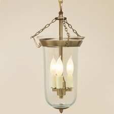 3 Light Small Elongated Bell Jar Foyer Pendant