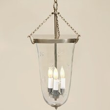 3 Light Large Elongated Bell Jar Foyer Pendant with Star Glass
