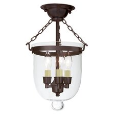 <strong>JVI Designs</strong> 3 Light Small Bell Jar Semi Flush Mount