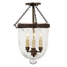 <strong>JVI Designs</strong> 3 Light Medium Bell Jar Foyer Pendant with Star Glass
