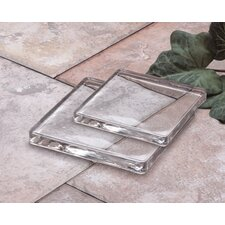 <strong>Biedermann and Sons</strong> Square Glass Candle Plate (Set of 2)