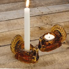 Glass Turkey Tealight/Taper Holder