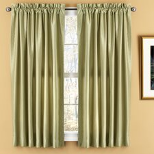Evelyn Luxury Faux Silk Rod Pocket Window Curtains Panel (Set of 2)
