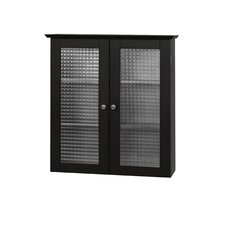 <strong>Elegant Home Fashions</strong> Chesterfield Wall Cabinet with Two Glass Doors in Dark Espresso