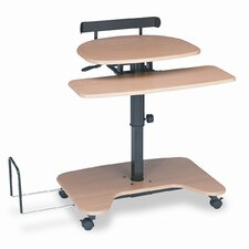 Hi-Hi-Lo Adj Pneumatic Workstation, 39-1/2 x 31-1/4 x 39-1/4, Teak Laminate Top