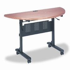 Flipper Training Table, Half-Round, 48w x 24d x 29-1/2h, Teak