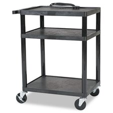 Three Shelf All-Service Cart, 24 x 18 x 16 to 42, Black