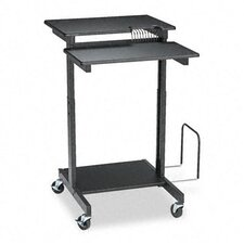 Web A/V Stand-Up Workstation, 34w x 31d x 44-1/2h, Black Laminate Top