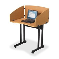 "Study Carrel, Economical, 33""x25""x44-1/2"", Teak w/ Black Frame"