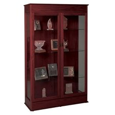 "Wood Display Cases, Locking Glass Doors, 48""x18""x77"", Mahogany"