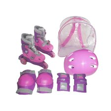Adjustable Girl's Inline Skates Training Set