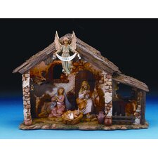 Six Piece Figurine Set with Lighted Stable