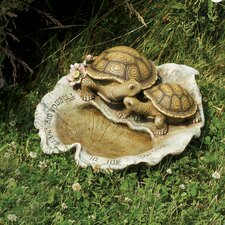 Turtle on Leaf Birdbath