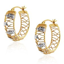 Woven Cut Out Huggie Hoop Earrings