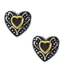 Goldplated Sterling Silver Black Cubic Zirconia Heart Stud Earrings