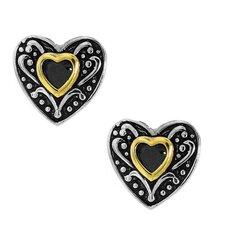Goldplated Sterling Silver Black Cubic Zirconia Heart Stud Earrings