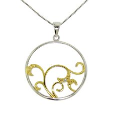 Sterling Silver Diamond Accent Circle Swirl Necklace
