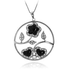 Sterling Silver Round Flower and Heart Filigree Cubic Zirconia Pendant Necklace