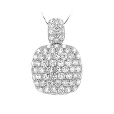 Sterling Silver Rounded Square Cubic Zirconia Encrusted Pendant Necklace