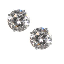 14kt White Gold 6mm Clear CZ Round Brilliant Cut Stud Earrings