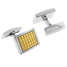 Stainless Steel Two-Tone High Shine Finish Rectangle Cufflinks