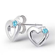 Sterling Silver Semi-precious Birthstone Heart Earrings