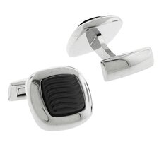 Stainless Steel Silver-Tone High Shine Finish w/ Carbon Fiber Inlay Square Cufflinks