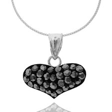 Sterling Silver 925 Pave Crystals Heart Shape Pendant Necklace - 18""