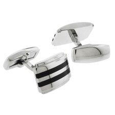 Stainless Steel Silver-Tone Satin Finish & Carbon Fiber Inlay Cufflinks