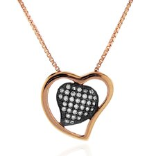 14kt Rose Goldplated and Black Rhodium over Sterling Silver 925 Two-tone Micro-pave Clear Cubic Zirconia Heart Pendant Necklace - 18""