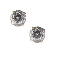 14kt Yellow Gold 5mm Clear CZ Round Brilliant Cut Stud Earrings