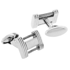 <strong>Moise</strong> Stainless Steel Silver-Tone High Shine Finish Cable Box Cufflinks