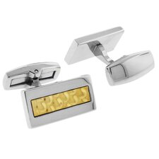 Stainless Steel Two-Tone High Shine Rectangle Cufflink