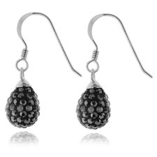Sterling Silver 925 Pave Crystals Round Teardrop Dangle Earrings