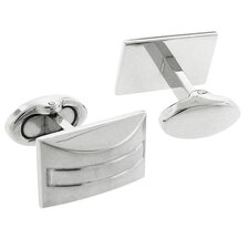 Stainless Steel Silver-Tone Plating High Shine Finish Rectangle Cufflinks