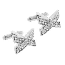 Silvertone with Rhodium over Brass Sparkling Micro Pave Clear Cubic Zirconia.