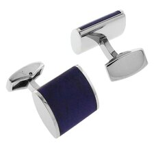 Stainless Steel Silver-Tone w/ Carbon Fiber Inlay Thick Barrel Cufflinks