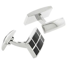 Stainless Steel Silver-Tone High Shine Finish & Carbon Fiber Inlays Rectangle Cufflinks